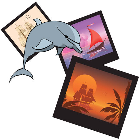 travel vector illustration with dolphin and  photoframes