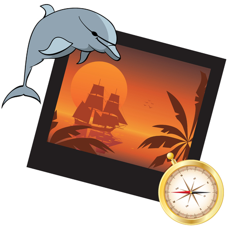 travel vector illustration with dolphin, compass and  photoframe Illustration