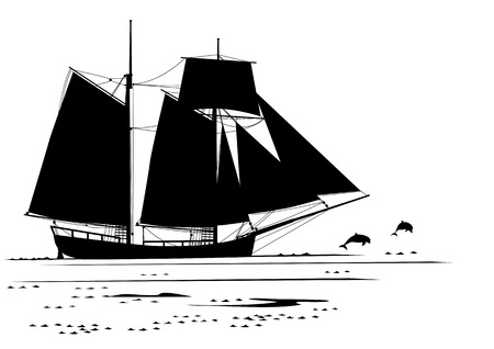 schooner: travel vector illustration with dolphins and  tall ship in black and white colors