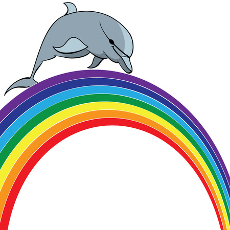 travel vector illustration with dolphin  and  rainbow Vector