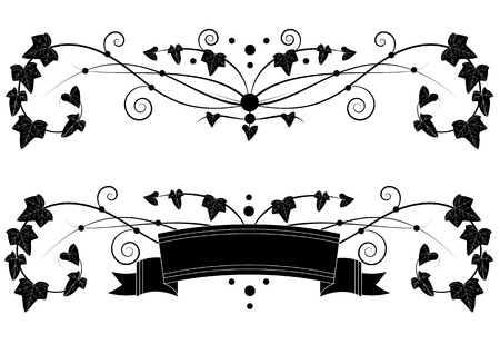 set of vector banners with branch of ivy