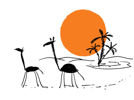 vector travel scribble sketch with sun and giraffes Vector