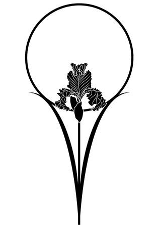 cadre noir et blanc: illustration vectorielle de l'iris dans des couleurs noires et blanches Illustration