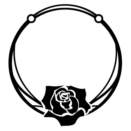 vector frame with rose in black and white colors