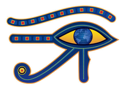 vector illustration of egypt eye with pupil as globe Vector