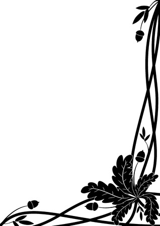 vector border with oak branch in black and white colors for corner design