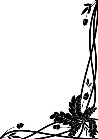 confine vettoriale con ramo di quercia nei colori bianco e nero per la progettazione angolo