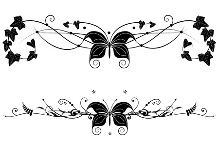 set of banners with butterfly and floral branches