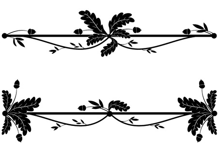 set of vignettes with oak branch in black and white colors  Vector