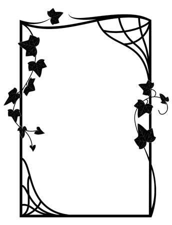 stile liberty: cornice con rami di edera nei colori bianco e nero