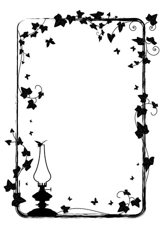 edera: frame with branch of ivy, butterflies and kerosene lamp Illustration