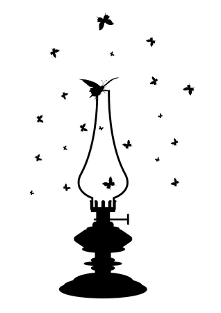 kerosene lamp: illustration of old kerosene lamp in black and white colors