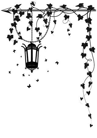 yedra: vector de la frontera con la l�mpara de la calle, las mariposas y la hiedra para el dise�o de la esquina