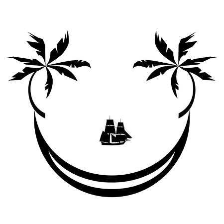 illustration of sign the tropic vacations as smile