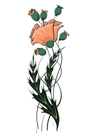 flower art: illustrazione vettoriale di art nouveau pattern floreale con papavero