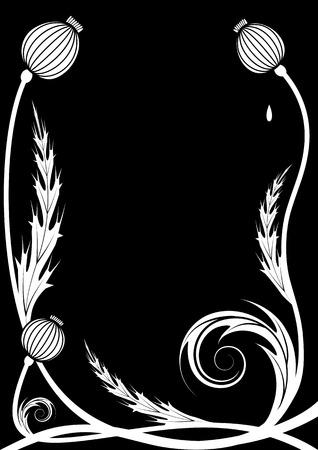 stile liberty: sfondo vettoriale con teste di semi di papavero in bianco su nero