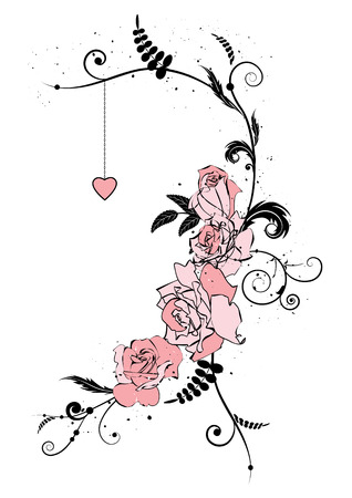 illustration with flowers of roses and heart Vector