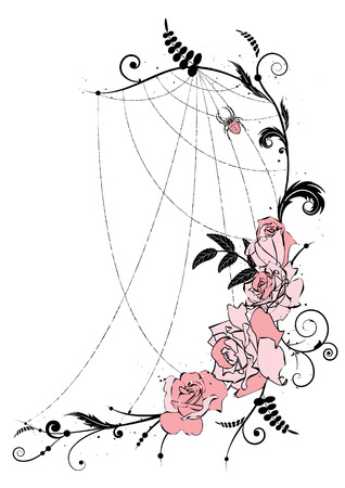 illustration with flowers of roses and spiderweb