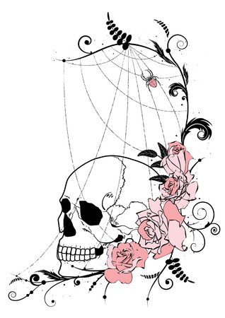 illustration with flowers of roses, skull and spiderweb