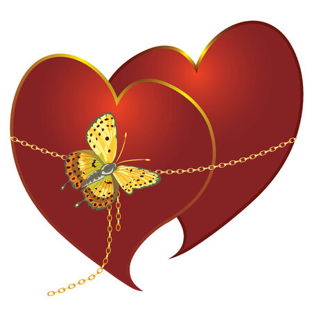 vector abstract illustration of loving couple with butterfly Vector