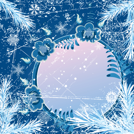 흰 서리: Christmas vector background with fir branches and stylized flowers