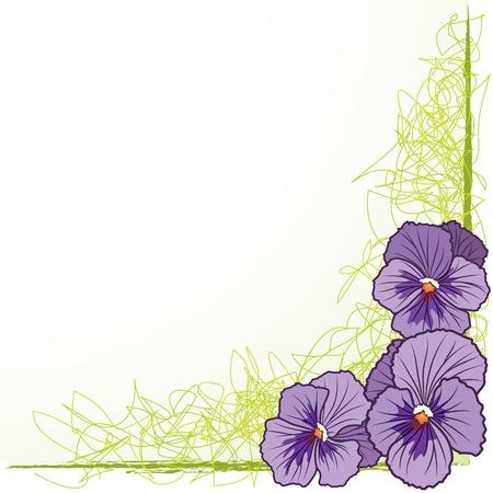 紫パンジー (EPS 10) とベクトル花の境界線