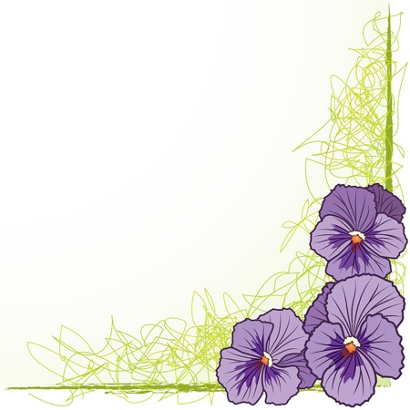 vector floral  border with violet pansies (EPS 10) Vector