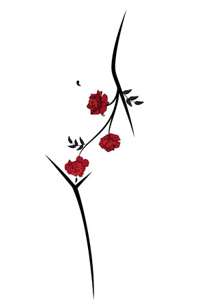 vector outline  illustration of woman body with roses in red, black and white colors Illustration