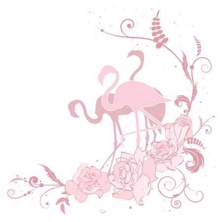 vector illustration with flamingo and roses in pink colors Vector