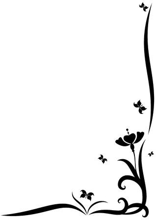 gestileerde vector grens met bloemen voor hoek ontwerp