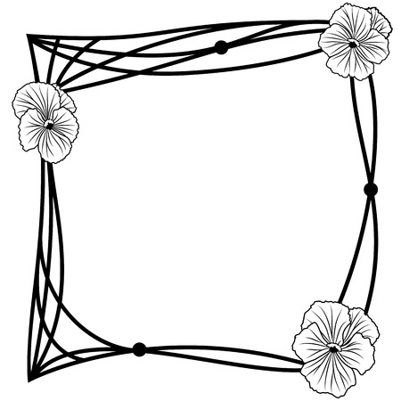 vector frame with pansies in black and white colors Vector