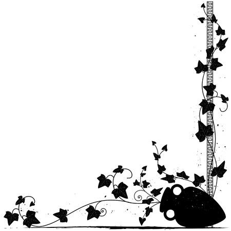 vector background with ivy and amphora for corner design Illustration