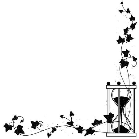 vector background with ivy and sandglass for corner design Illustration