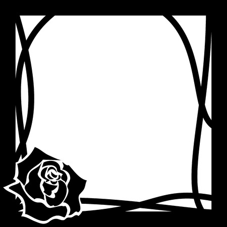 grating: vector frame with rose in black and white colors
