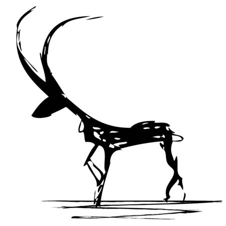 of antelope: vector stylized illustration of antelope in black and white colors