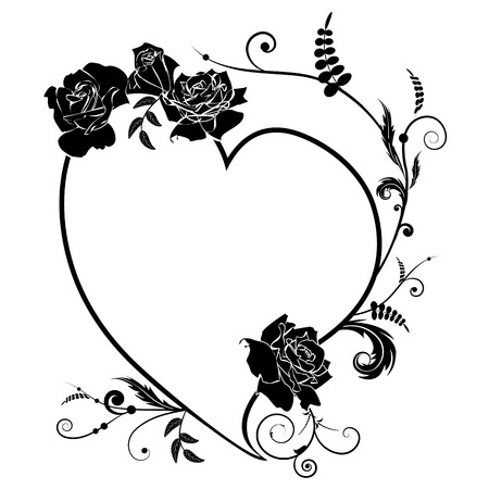 Vector valentine frame with  heart and roses in black and white colors