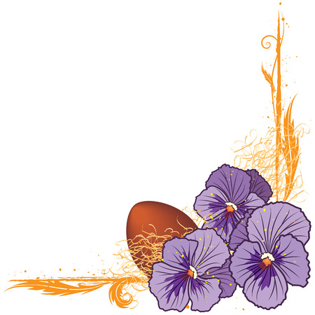 vector floral  border with violet pansies and egg (EPS 10) Vector