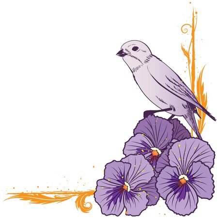 eps 10: vector floral  border with violet pansies and bird (EPS 10)