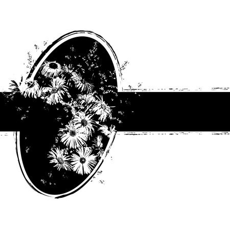 nosegay: floral vector illustration with bunch of flowers in black and white colors