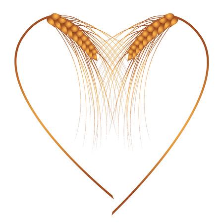 espiga de trigo: Marco del vector con los oídos como el corazón Vectores