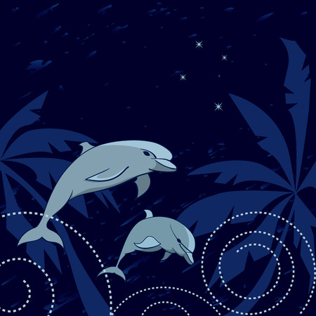 crux: travel illustration with dolphins, palms and Southern Cross