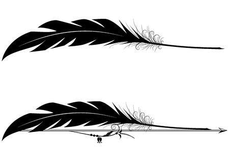 set of vector vignettes with feather pen in black and white colors