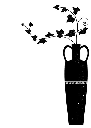 vector illustration with branches of ivy in black and white colors