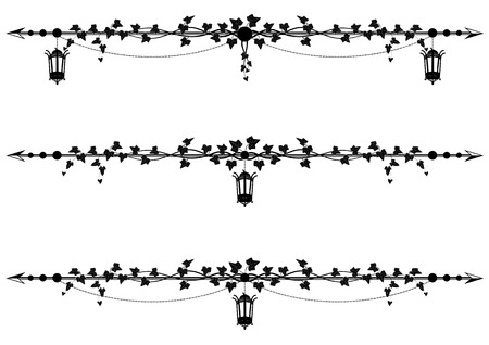 set of vector borders with street lamp and ivy Vettoriali