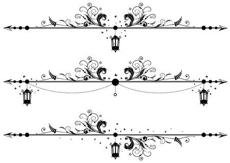 conjunto de las fronteras de vectores florales con lámpara de la calle antigua y mariposas Ilustración de vector