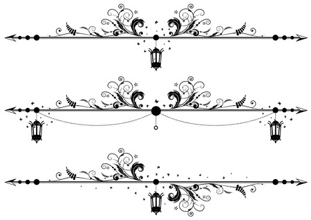 set of floral vector borders with old street lamp and butterflies
