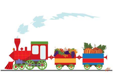 locomotora: ilustración vectorial con locomotora retro y calabazas, las uvas y la berenjena (EPS 10)