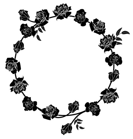 frame with flowers of roses in black and white colors Illustration