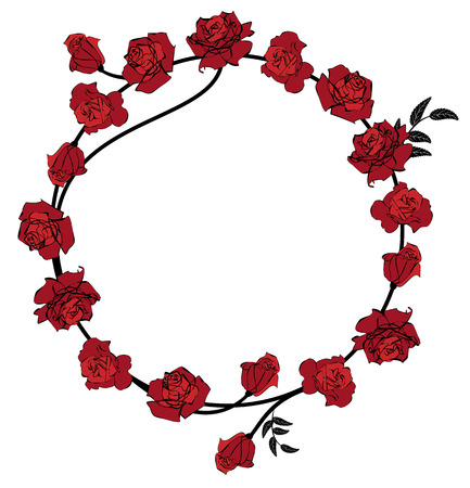art frame: frame with flowers of red roses