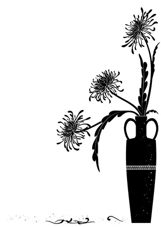 meander: meander  vase with golden-daisy in black and white colors Illustration